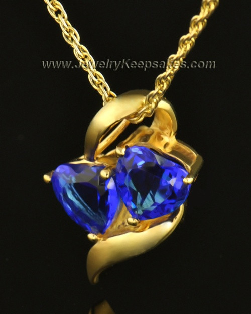14k Gold Hearts Entwined Cremation Necklace