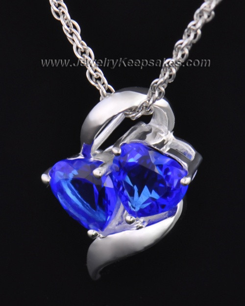 Sterling Silver Blue Hearts Entwined Cremation Necklace