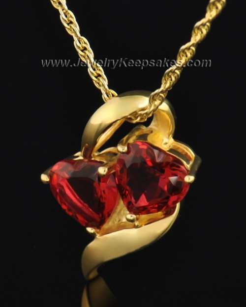 Gold Plated Hearts on Fire Cremation Necklace