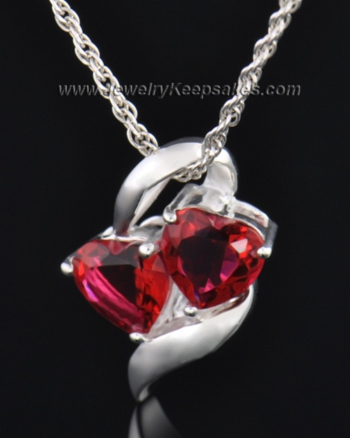 Sterling Silver Red Hearts Entwined Cremation Necklace
