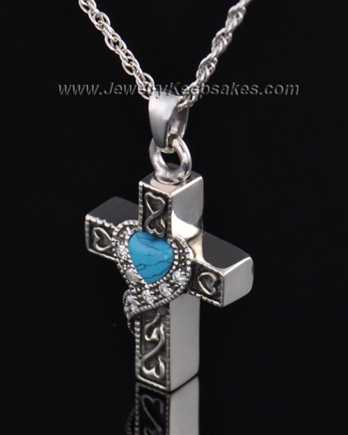 Sterling Silver Turquoise Cross Cremation Necklace