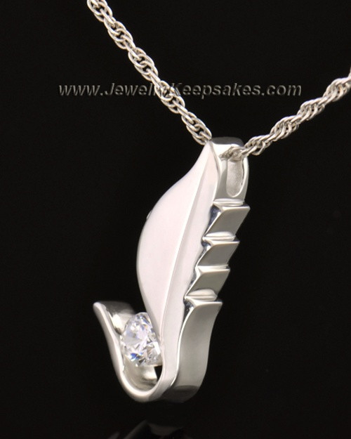 14k White Gold Flutter of Memories Cremation Necklace