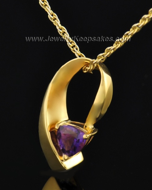 Gold Plated Lovely Lavender Cremation Necklace