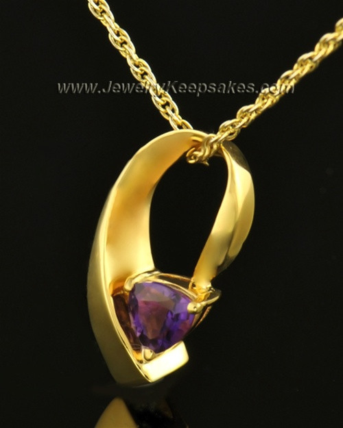 14k Gold Lovely Lavender Cremation Necklace