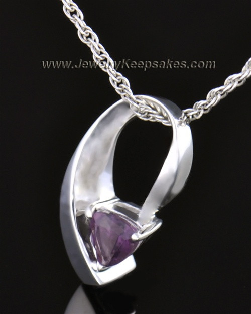 14k White Gold Lovely Lavender Cremation Necklace