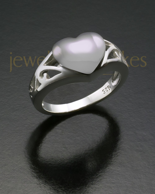 Ladies Sterling Silver Filigree Heart Cremation Ring