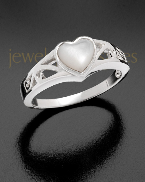 Ladies Mother Of Pearl Filigree Heart Cremation Sterling Silver Ring