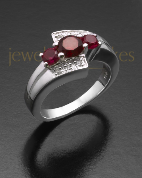 Sterling Silver Ladies Radiant Red Cremation Ring