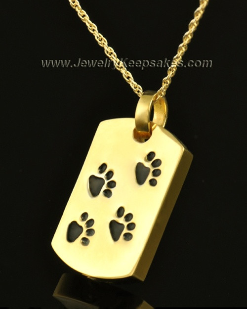 14K Gold Taking a Stroll Pet Urn Keepsake