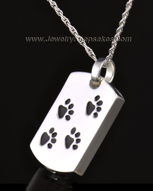 14k White Gold Taking a Stroll Rectangle Pet Keepsake