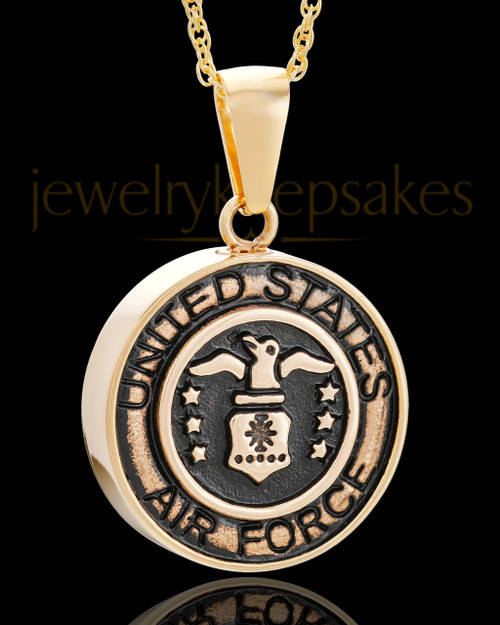 Gold Plated over Stainless Military Medallion-Air Force Urn Pendant