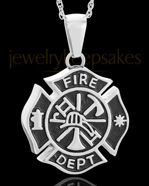Stainless Fire Department Medallion Urn Pendant