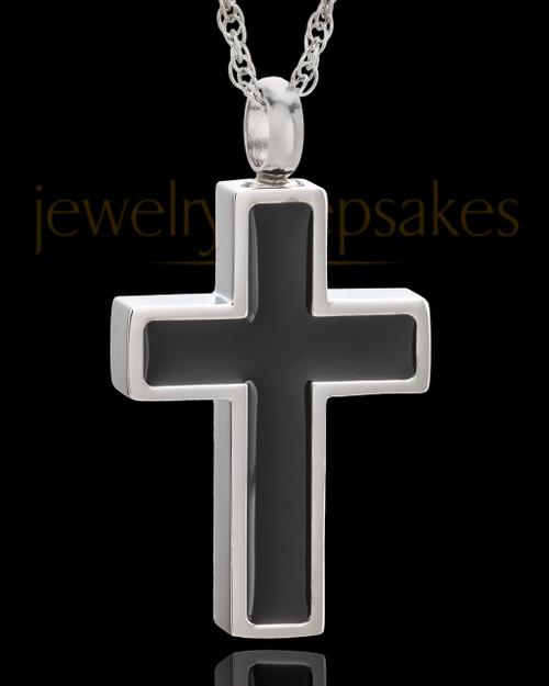 Stainless Simplicity Cross Urn Pendant