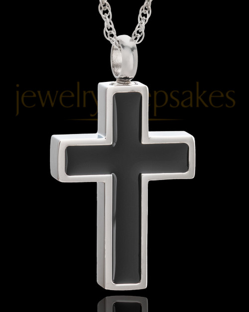 Stainless Simplicity Cross Urn Pendant
