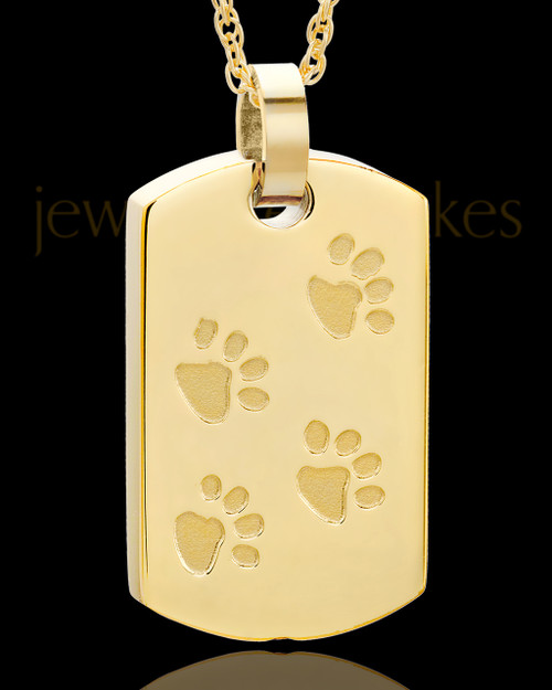Gold Plated over Stainless Taking A Stroll Rectangle Pet Keepsake
