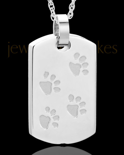 Stainless Taking A Stroll Rectangle Pet Keepsake