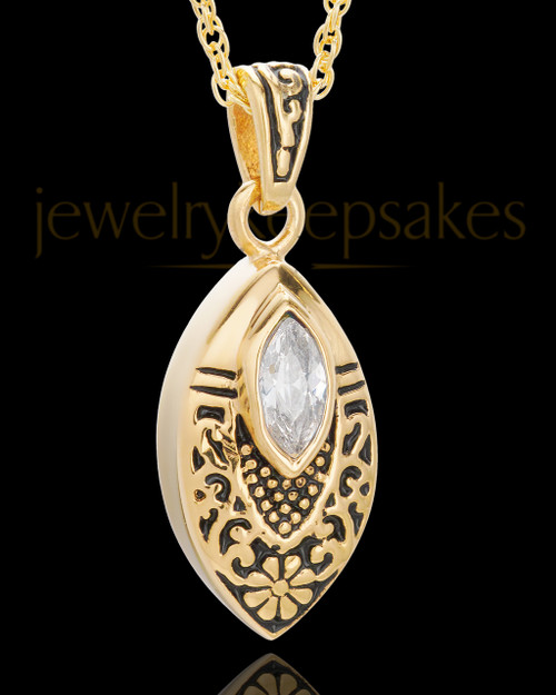 Gold Plated Decorated Teardrop Urn Pendant