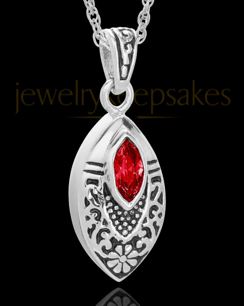 Stainless Decorated Teardrop  with Red Stone Urn Pendant
