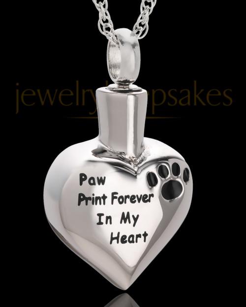 Stainless Paw Print Forever Heart Urn Pendant