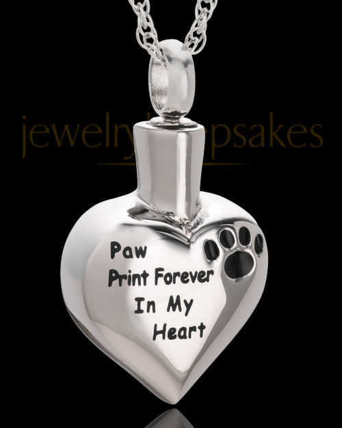 Stainless Paw Print Forever Heart Urn Pendant
