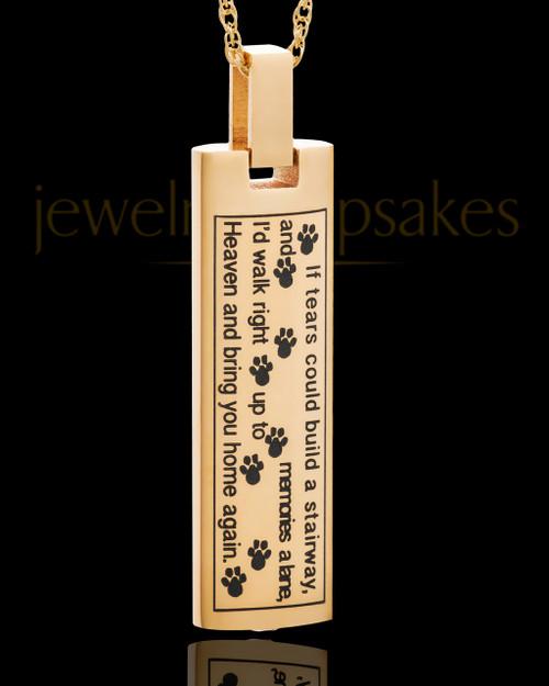 Gold Plated Sentimental Cylinder Pet Urn Pendant