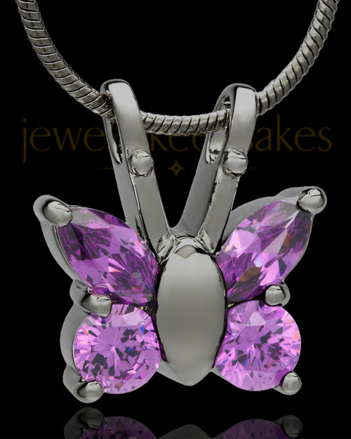 Black Plated Dancing Lavender Butterfly Cremation Urn Pendant