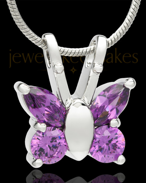 Sterling Silver Dancing Lavender Butterfly Cremation Urn Pendant