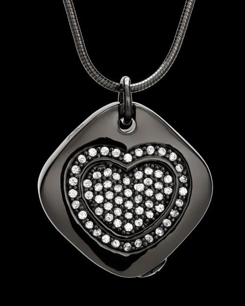 Black Mindful Heart Cremation Urn Pendant