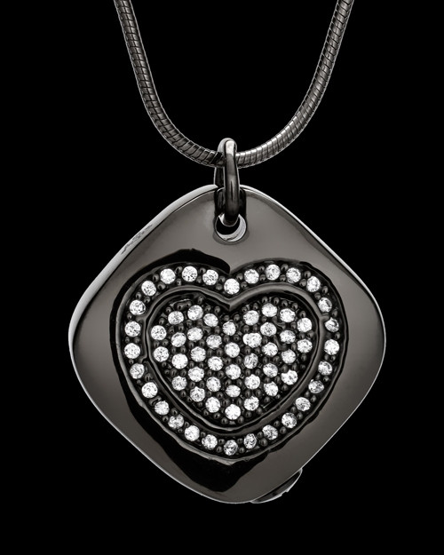 Black Mindful Heart Cremation Urn Pendant