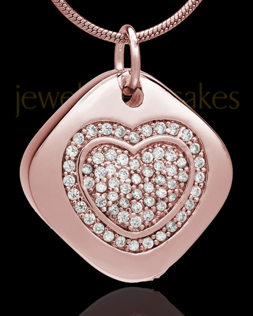 Rose Gold Plated Mindful Heart Cremation Urn Pendant