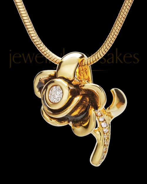 Black Gold Confident Rose Cremation Urn Pendant