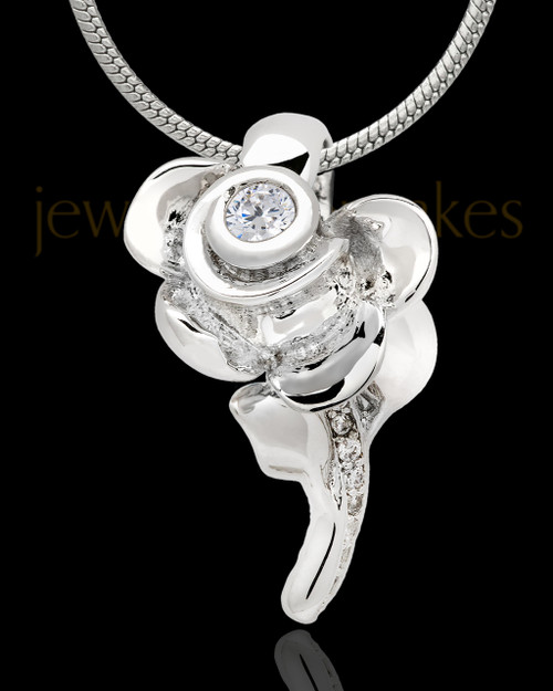 Sterling Silver Confident Rose Cremation Urn Pendant