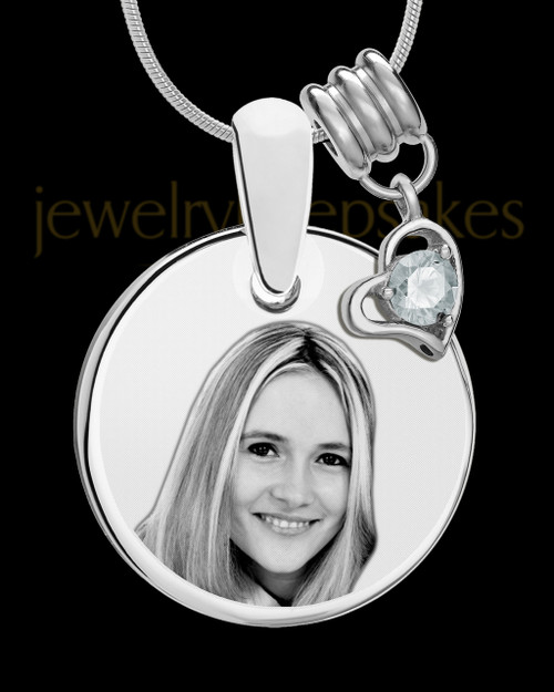 April Photo Engraved Round Pendant Stainless Steel