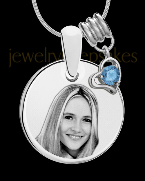 December Photo Engraved Round Pendant Stainless Steel