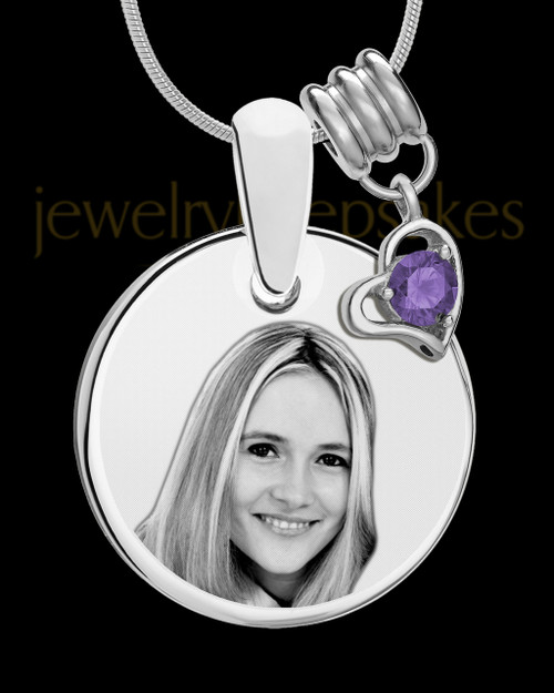 February Photo Engraved Round Pendant Stainless Steel