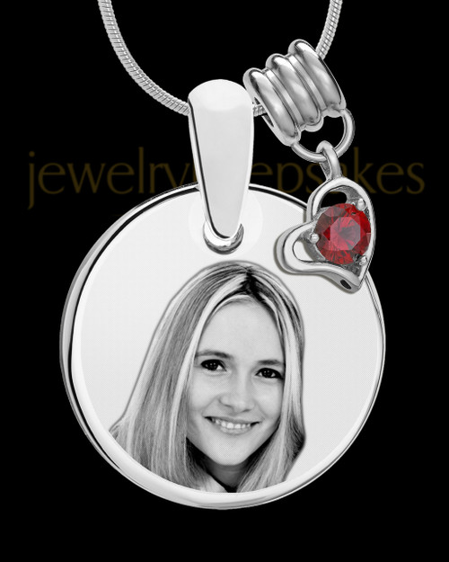 January Photo Engraved Round Pendant Stainless Steel