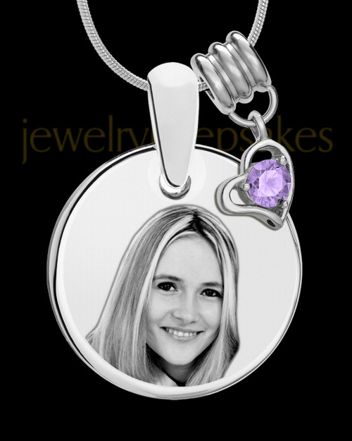June Photo Engraved Round Pendant Stainless Steel