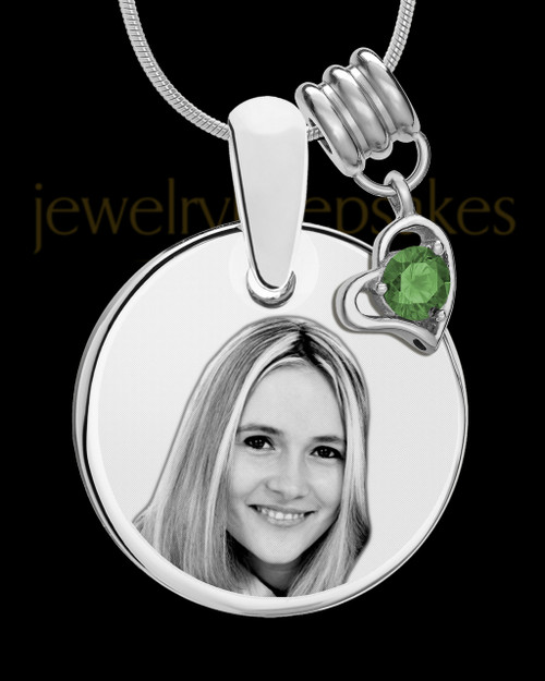 May Photo Engraved Round Pendant Stainless Steel
