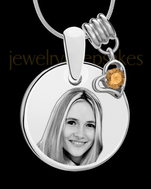 November Photo Engraved Round Pendant Stainless Steel