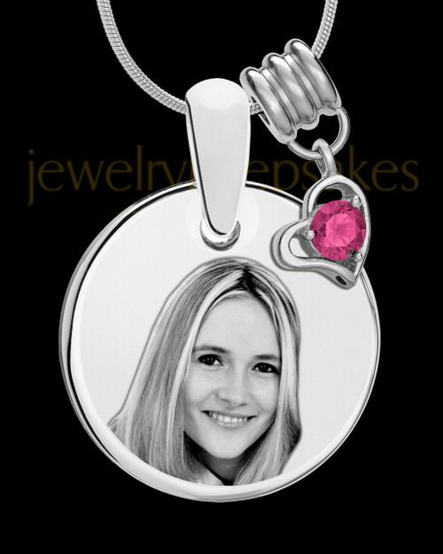 October Photo Engraved Round Pendant Stainless Steel Plated