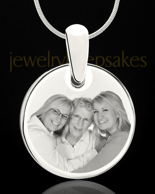Photo Engraved Round Pendant Stainless Steel