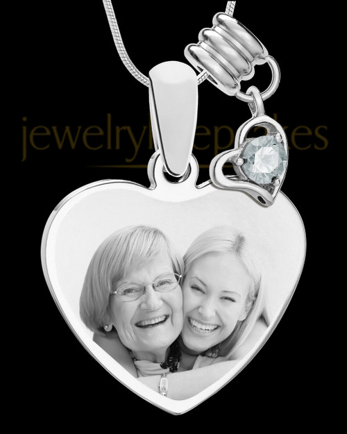 April Stainless Steel Memories Heart-Shaped Photo Engraved Pendant