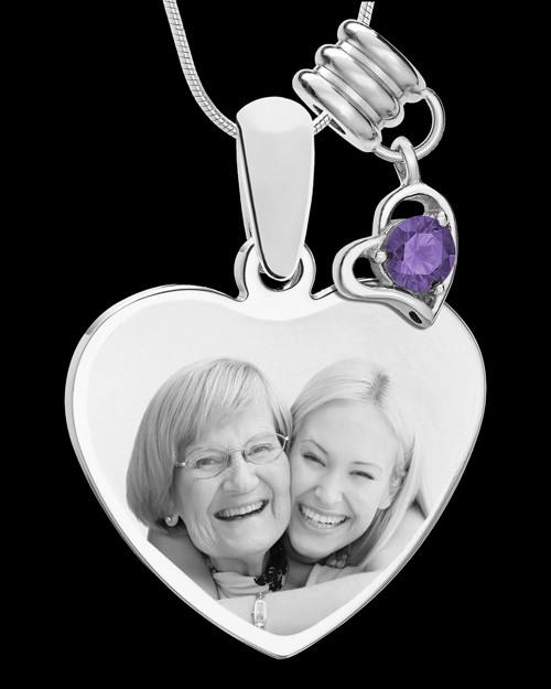 February Stainless Steel Memories Heart-Shaped Photo Engraved Pendant