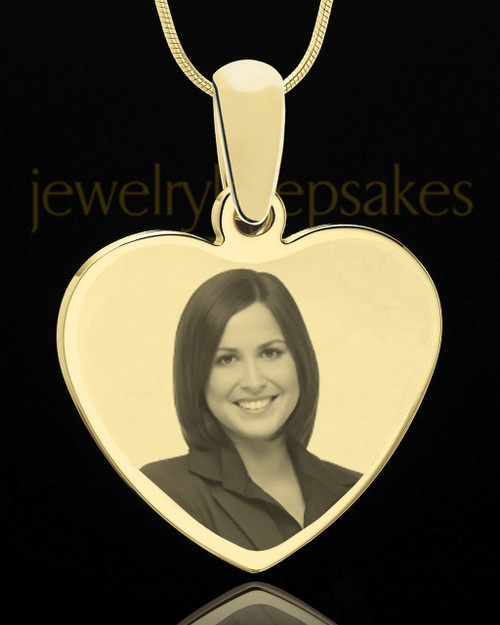 Engraved Photo Heart Pendant Gold Plated