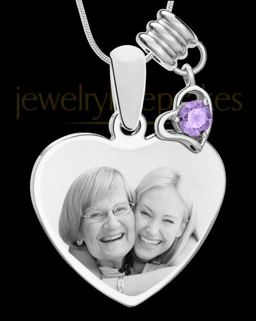 June Stainless Steel Memories Heart-Shaped Photo Engraved Pendant