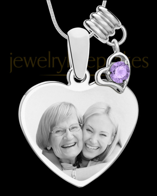 June Stainless Steel Memories Heart-Shaped Photo Engraved Pendant