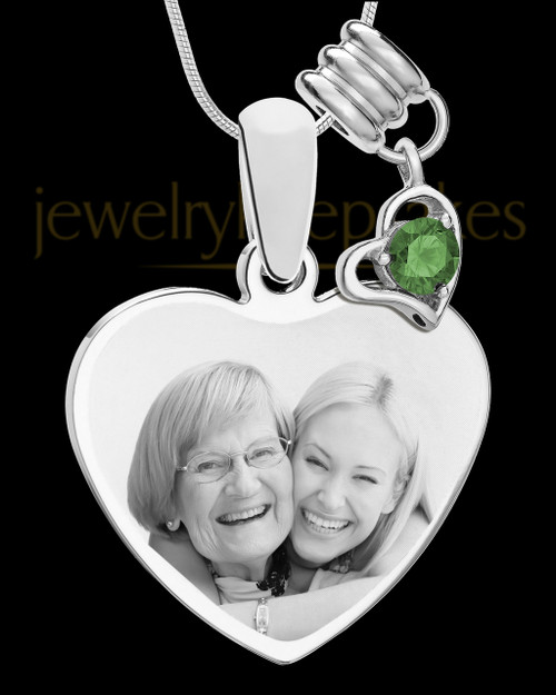 May Stainless Steel Memories Heart-Shaped Photo Engraved Pendant
