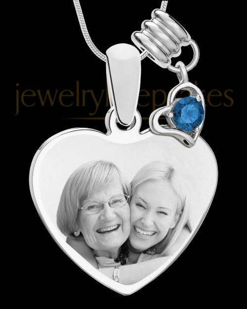 September Stainless Steel Memories Heart-Shaped Photo Engraved Pendant