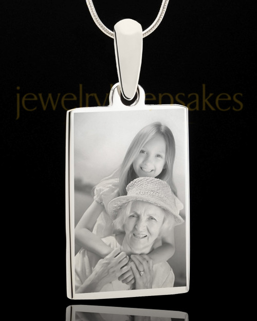 Photo Engraved Rectangle Pendant Stainless Steel