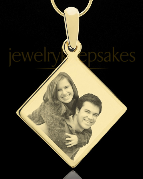 Photo Engraved Diamond Pendant Gold Plated on Stainless